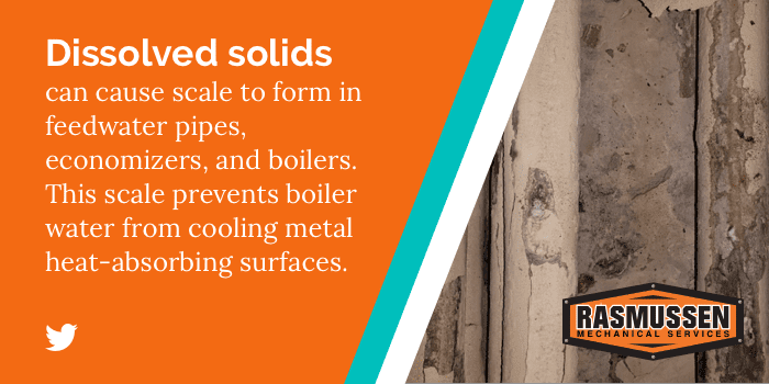Click to tweet: Dissolved solids can cause scale in a boiler.