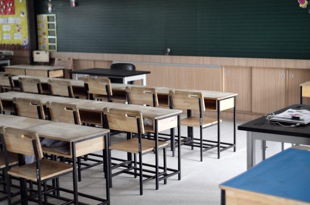 A school classroom during summer break.