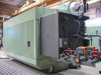 HRSG Firetube Package Boiler sitting in a warehouse.