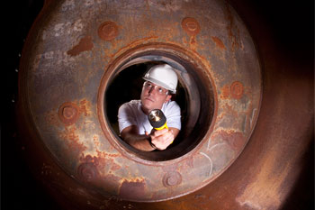 Confined Space inside a boiler