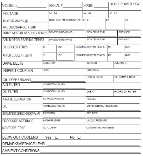 Printable air compressor log sheet to go along with air compressor maintenance checklist