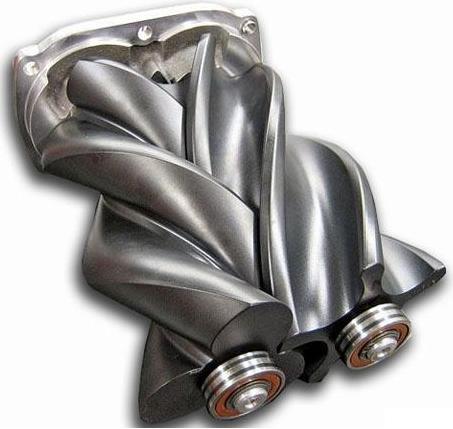 Lysholm screws found inside a rotary screw air compressor.
