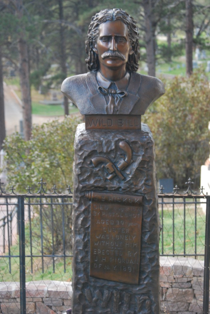 Wild Bill memorial just outside of the hickok hotel and casino