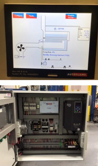 Close up of MK8 Mini autoflame controls on Hurst Boiler