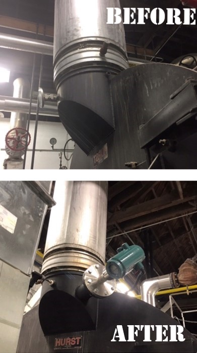 Before and after with new O2 sensor installed on boiler stack