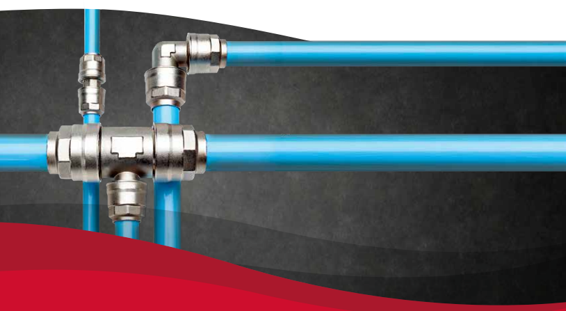 Compressed air piping system showing Gardner Denver plastic piping