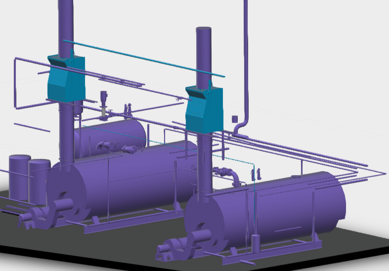 3D representation of a Heatmizer condensing economizer or flue gas heat recovery unit.