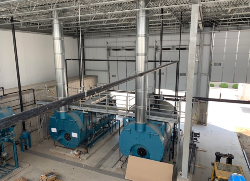 Aerial shot of two superior boilers installed in a food processing plant.