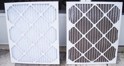 Dirty and clean HVAC filter media