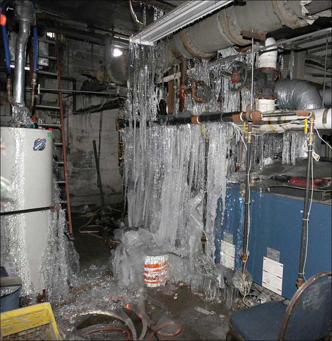 Water line break in commercial facility
