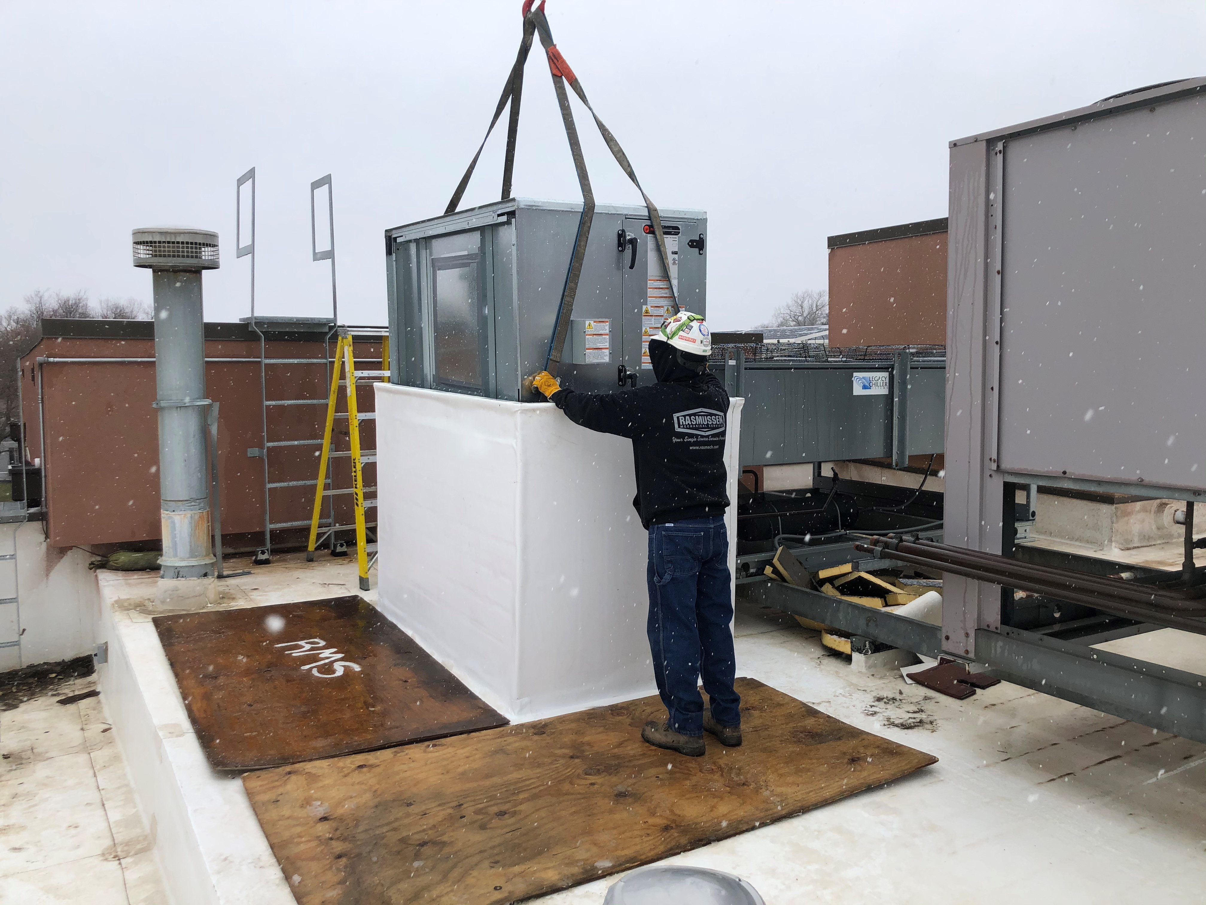 Lowering AHU through rooftop opening