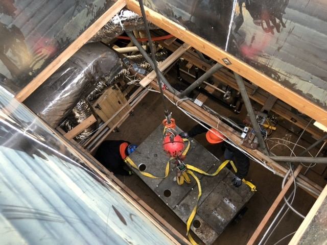 Removing Old AHU through roof opening