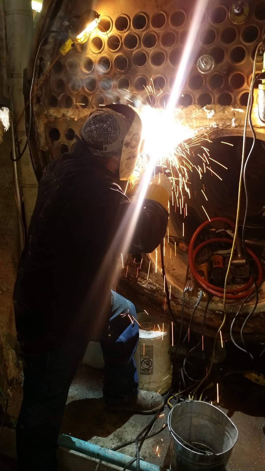 Repair being performed during a boiler lay-up