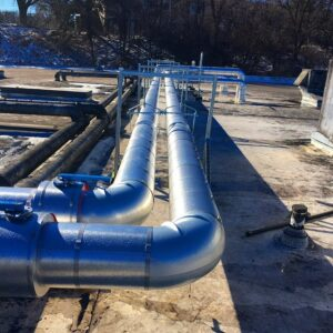 Outdoor piping with sheet metal insulation